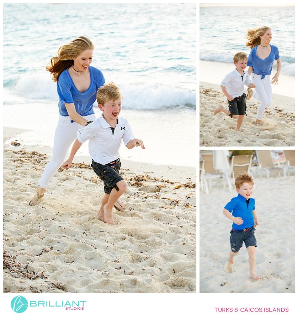 kids having fun in grace bay beach