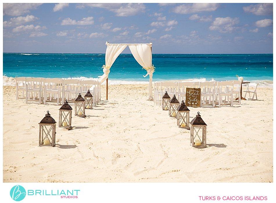 Grace Bay Beach destination wedding set up