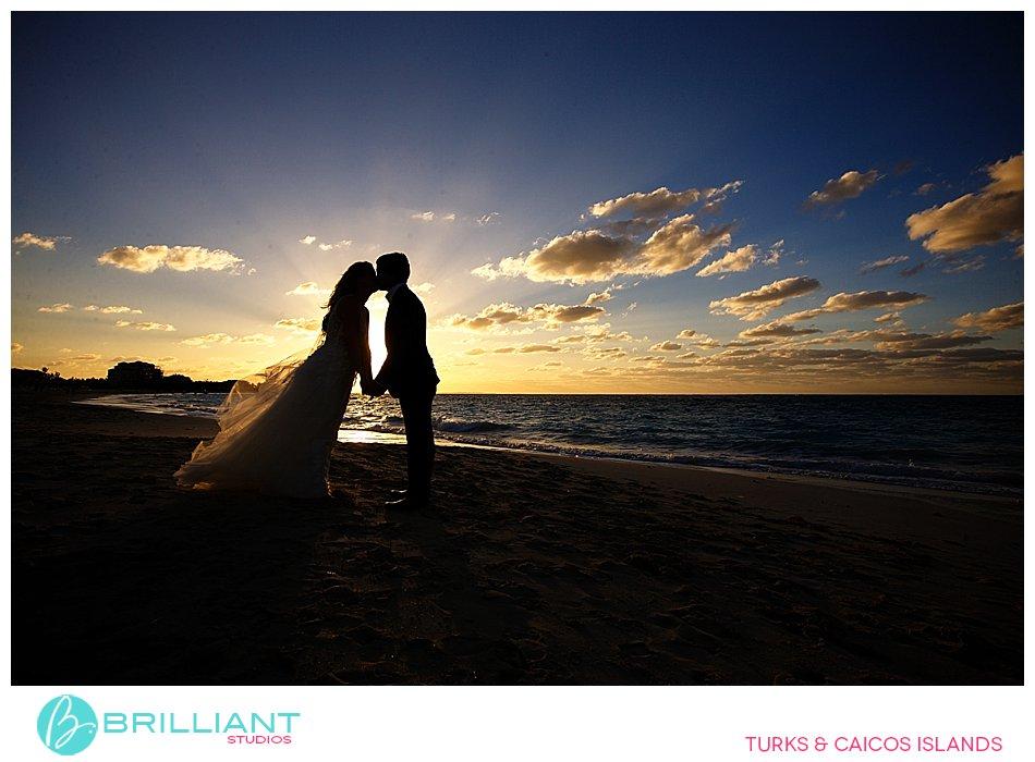 sunset wedding on Grace Bay Beach
