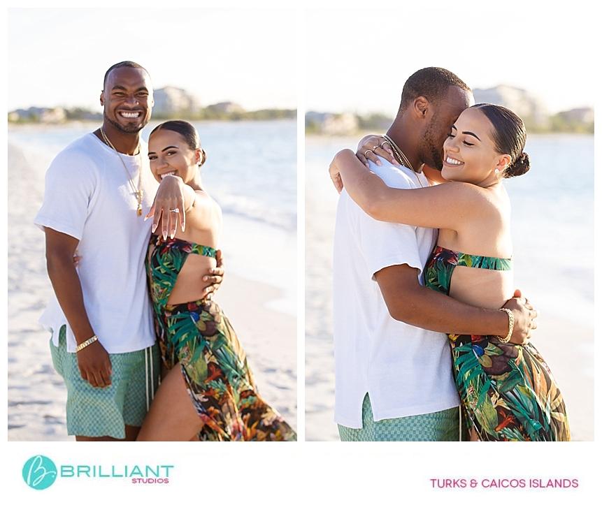 couple in grace bay beach after secret proposal