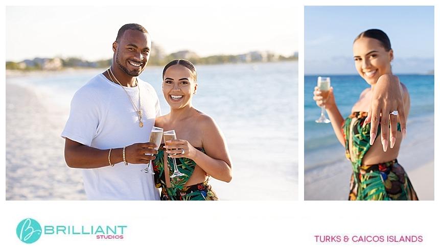 couple celebrating after engagement on grace bay