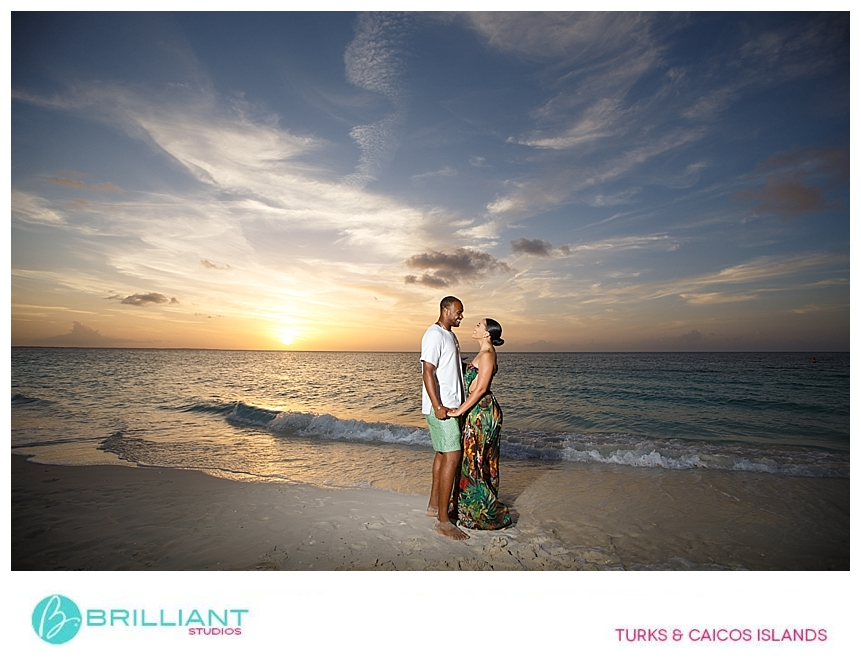 providenciales couple during sunset proposal