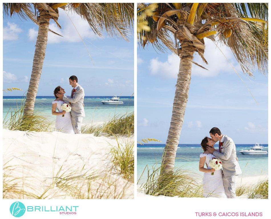 bride and groom beach South Caicos