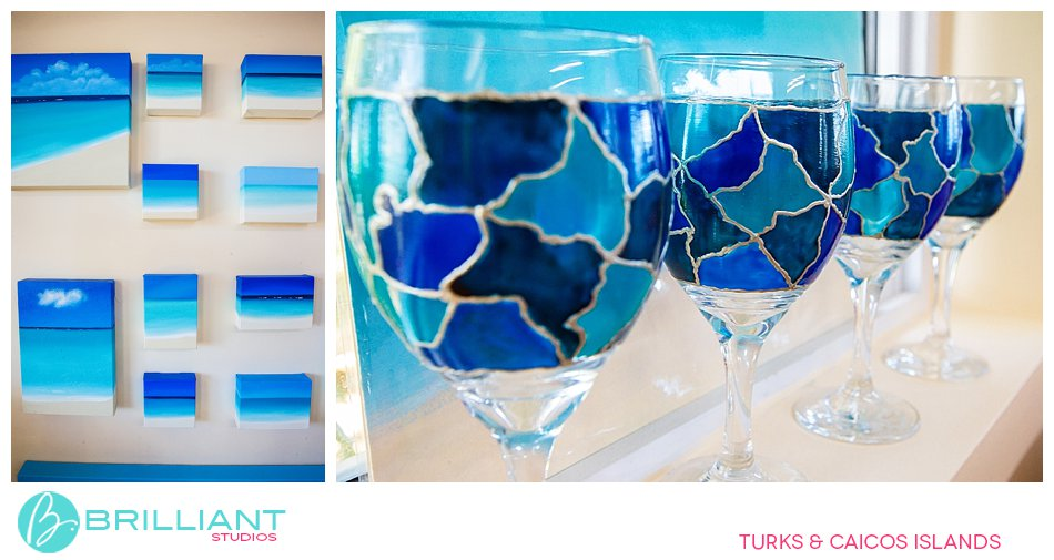 hand painted glass ware Turks and Caicos