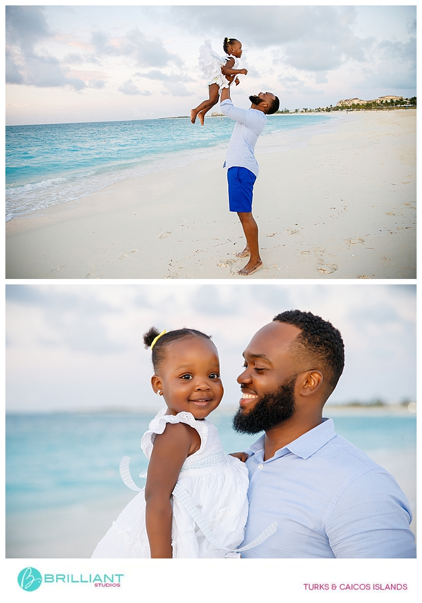 dad taking photos with his daughter during a photo shoot in providenciales