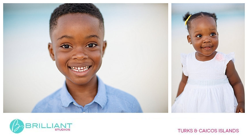 kid posing for professional photographer in turks and caicos